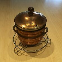 Decorative brass pot and lid on stand Hope Valley Tea Tree Gully Area Preview