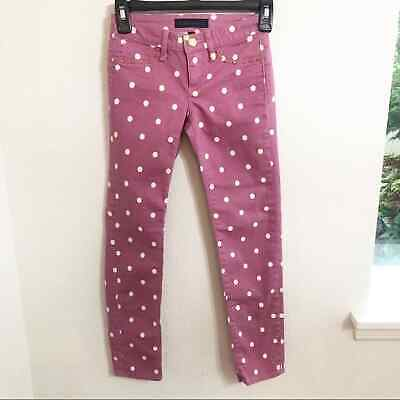 Juicy Couture Girls Size 8 Pink White Polka Dot Studded Pockets Skinny Jeans