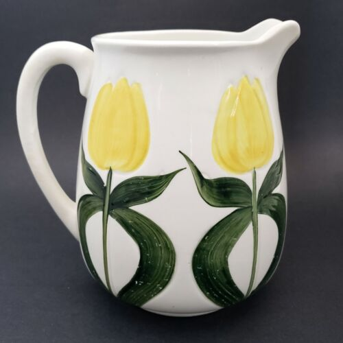 """Antique Wheeling Pottery Yellow Tulip Ceramic Pitcher 7"""" Hand Painted Embossed"""