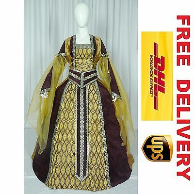 MEDIEVAL RENAISSANCE TUDOR WEDDING HANDFASTING LARP GOWN DRESS COSTUME --- 18A
