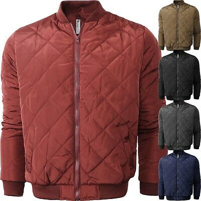 Mens Flight BOMBER JACKET QUILTED Classic Premium Casual Zip Up Basic -