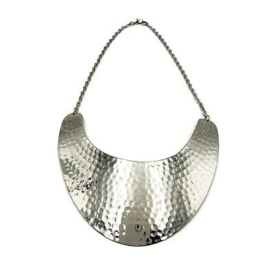 Bib Silver Tone Necklace - Brass Necklace Silver Tone Statement Necklace Bib Hammered Choker MT-NK6925
