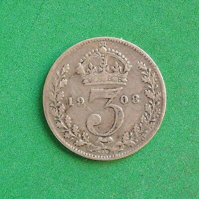1908 Edward VII Silver Threepence SNo47136