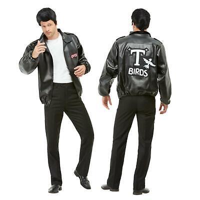 Offiziell Grease T-Birds Jacke mit Gesticktes Logo Schwarz Kunstleder Danny