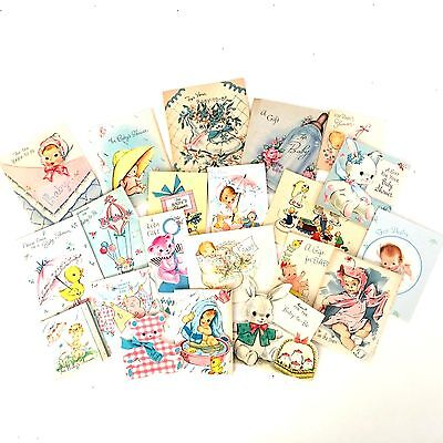vintage lot 50's baby shower gift tag greeting cards