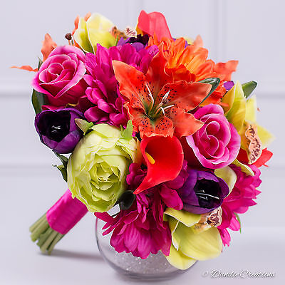 Wedding Flowers in Tropical Mixed Silk Flowers - Bridal Posy Bouquet - New 2017
