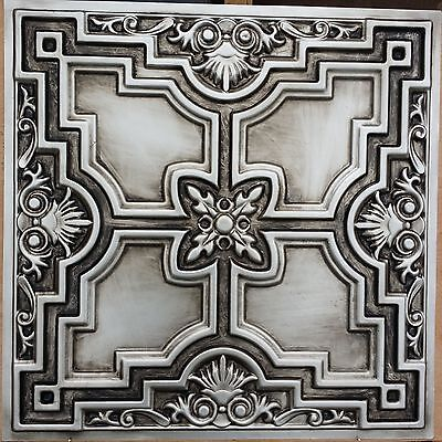 PL16 Faux tin antique silver drop ceiling tiles bar decor wall panel 10tile/lot