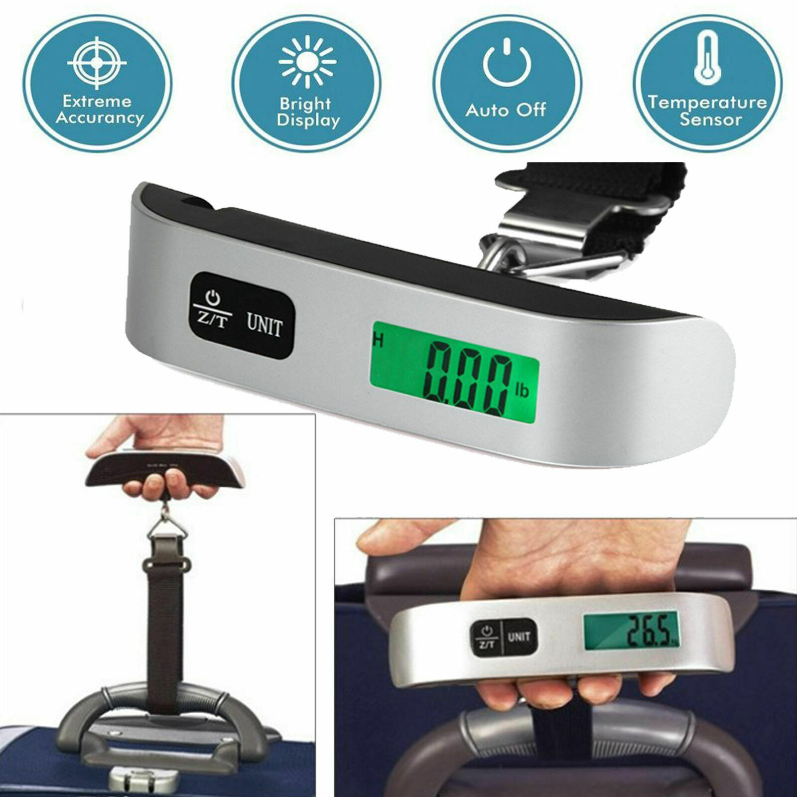 50kg/10g Portable Travel LCD Digital Hanging Luggage Scale Electronic Weight US Luggage Accessories