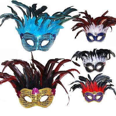 Kinder Damen Maske mit Federn Fasching Karneval Federboa Venezianisch Federmaske