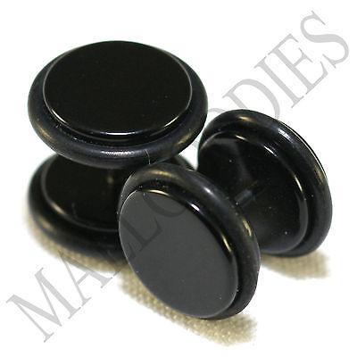 2012 Black Fake Cheater Illusion Faux Ear Plugs 16G Bar 1/2