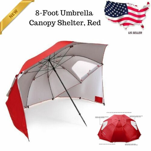 8 Foot All Weather Portable Sun Tent Shelter Umbrella Canopy Red