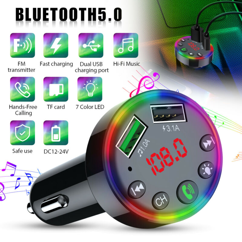Bluetooth 5.0 Car FM Transmitter 3 USB Fast Charger Hands-free Radio AUX Adapter