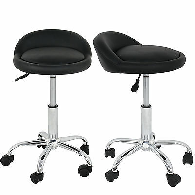 Salon Stool with Back Rest Saddle Set of 2 Rolling Hydraulic Spa Stools (BLACK) Health & Beauty