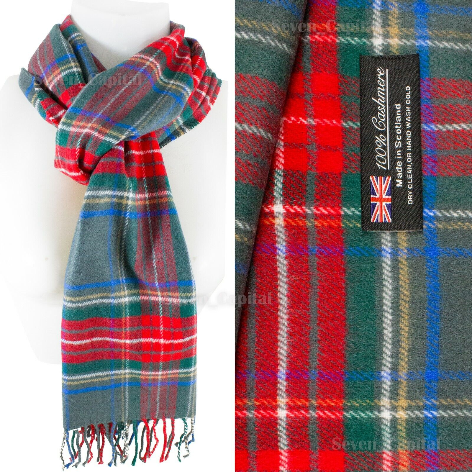 Mens Womens Winter Warm SCOTLAND Made 100% CASHMERE Scarf Scarves Plaid Wool 32. Green/Red