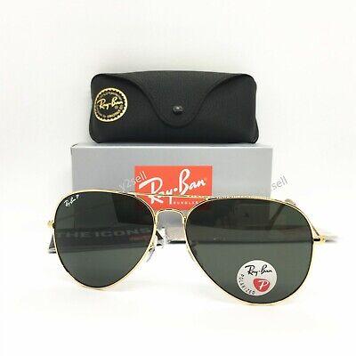 Ray-Ban Sunglasses Aviator Clasic 3025 (5418) Polarized Gold Green G-15 Lens (Ray Ban Aviator Gold Green Polarized)
