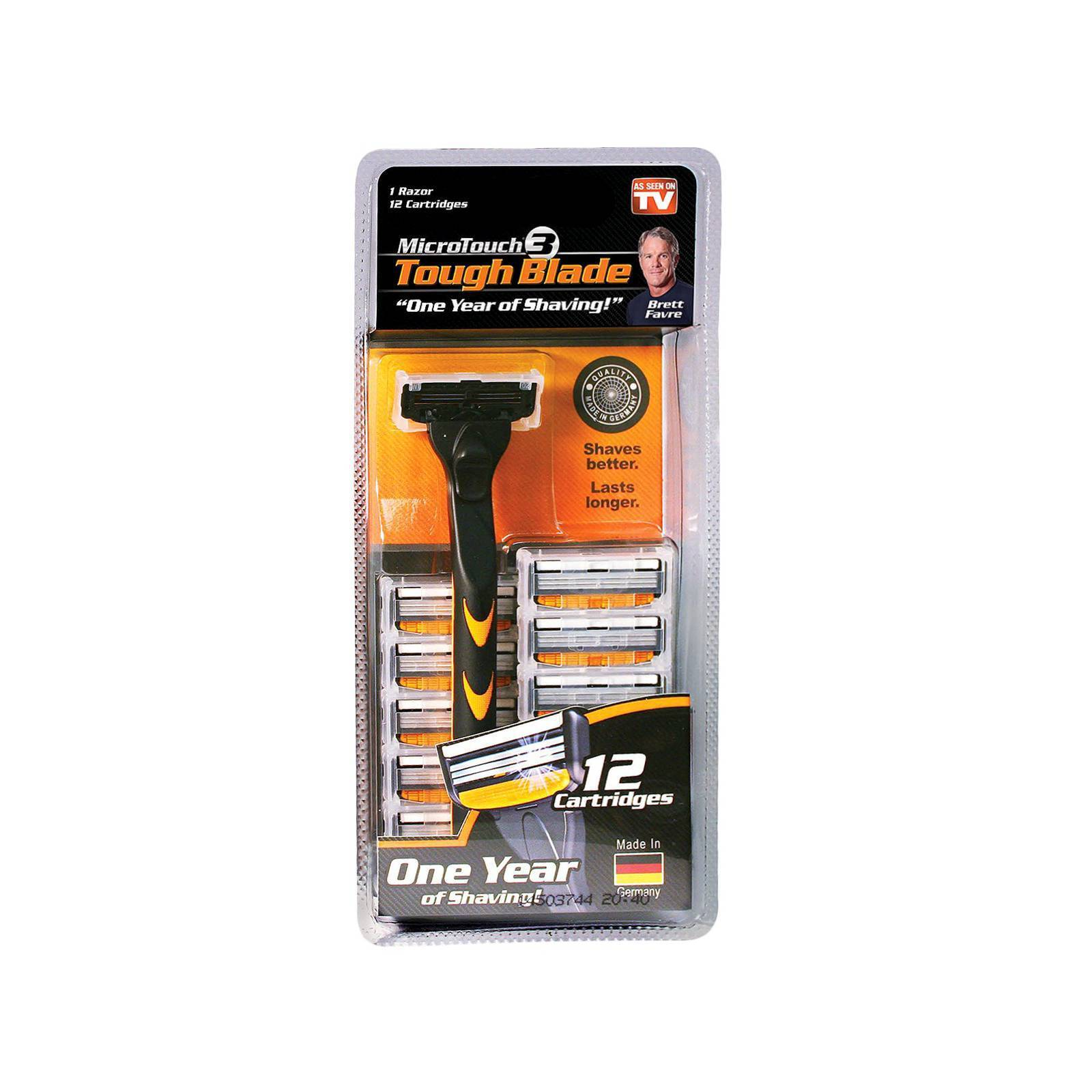 As Seen On TV MicroTouch Tough Triple-Blade Razor with 12 Re