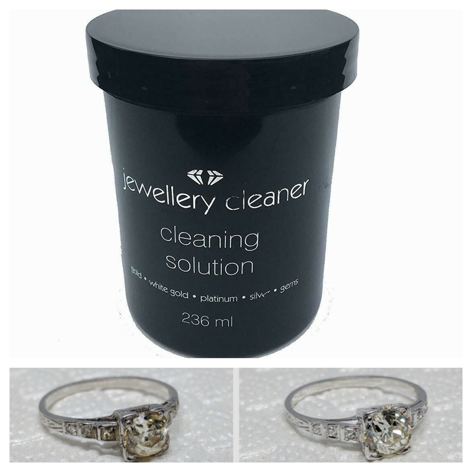 Jewellery - Jewellery Cleaner Liquid Cleaning Solution Fluid Gold Silver Gems Platinum 236ml