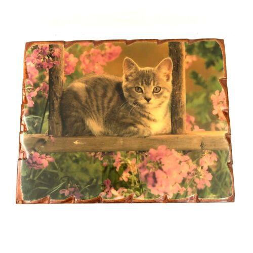 Cat In The Garden Wood Wall Plaque 16 X 20