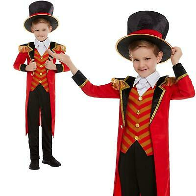 Boys Greatest Ringmaster Circus Show Fancy Dress Costume Kids Coat Hat Halloween](Boys Ringmaster Costume)