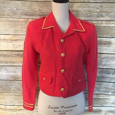 LizWear Vintage Military Style Red Short Jacket, Size 4P