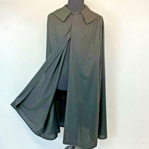 Black Cape Cloak Costume Adult S M Cosplay Lightweight Polycotton Handmade S1
