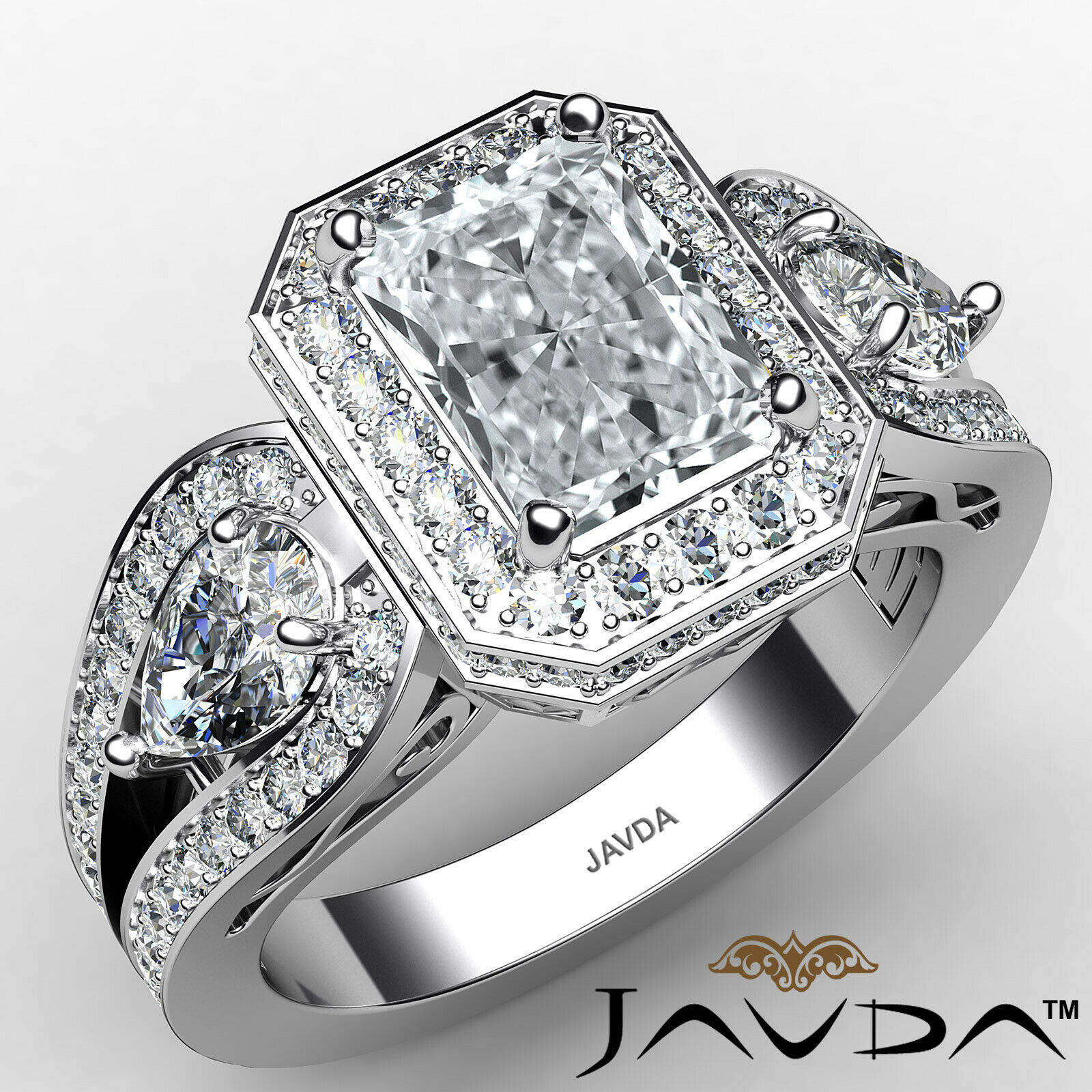 Halo Radiant Diamond Engagement Ring GIA Certified I Color & SI1 clarity 2.75ctw