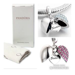 Pandora Cleaning Cloth with Free Sister Pink Open Heart Charm Sterling Silver