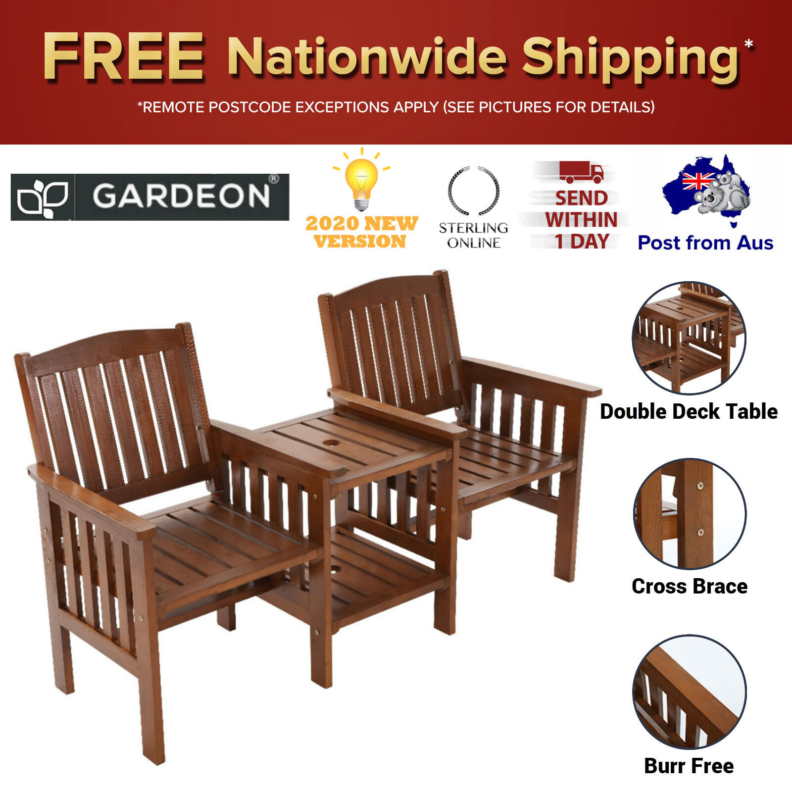 Garden Furniture - Outdoor Two Seater Jack & Jill Garden Chair Table Wooden Couch Furniture Yard