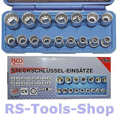"""BGS 2226 1/2"""" Steck-Schlüssel-Satz 12,5 1/2"""" 8-24 mm 12-kant Einsätze Nuss Nüsse"""