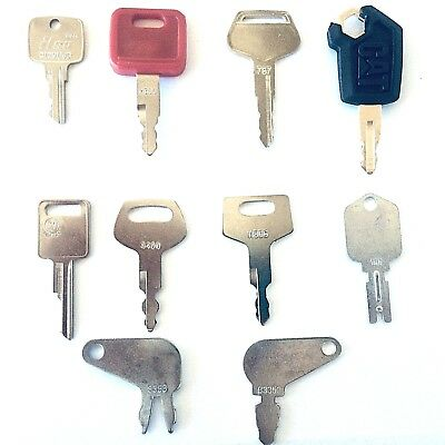10 Pc Heavy Equipment Key Set Construction Ignition Keys Cat Case Deere Komatsu