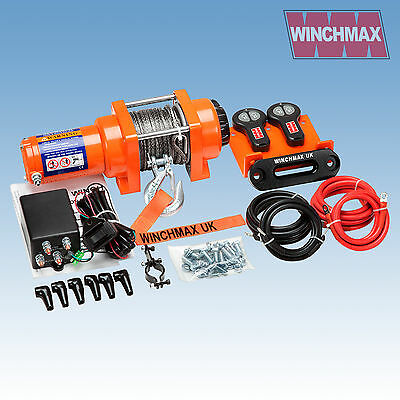WINCH 12V  ATV BOAT TRAILER 3000 lb WINCHMAX BRAND SYNTHETIC ROPE MODEL