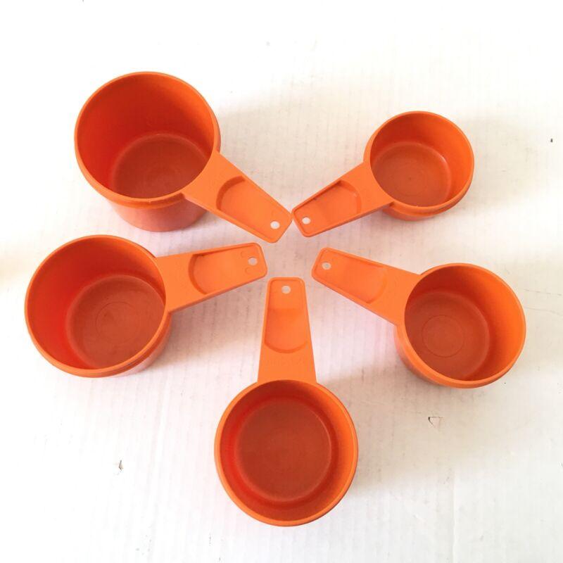 Vintage Tupperware Orange Nesting Measuring Cups 1 Cup 3/4 2/3 1/2 1/3 Set of 5