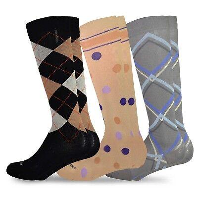 TeeHee Microfiber Compression Knee High Socks with Rib 3-Pack (Pattern) ()