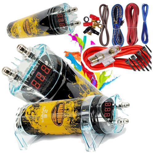 3500 Watts PRO 3.5 Farad Capacitor Car Audio Power 12V Display + 8 Gauge amp KIT