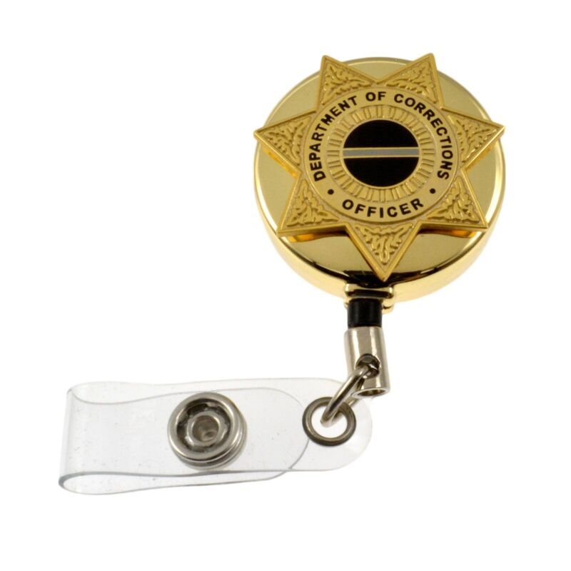 Corrections Officer 7 Point Star Badge Reel Retractable ID Card Holder Gold