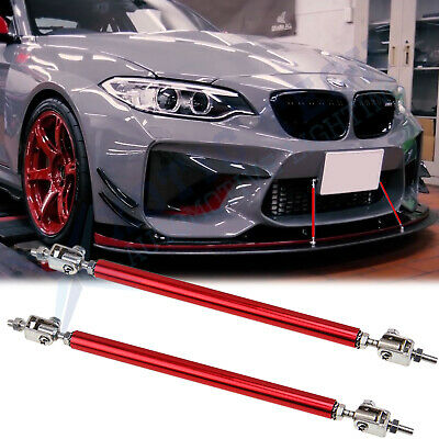 "Red Adjust Front Bumper Lip Splitter Strut Rod Tie Support Bars For BMW 8""-11"""