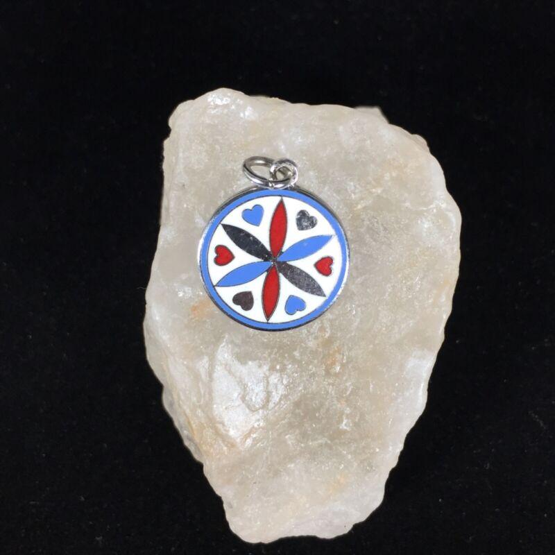 Vintage Pennsylvania Dutch Silver Enamel Charm Hearts Mosaic Round Pendant Wheel