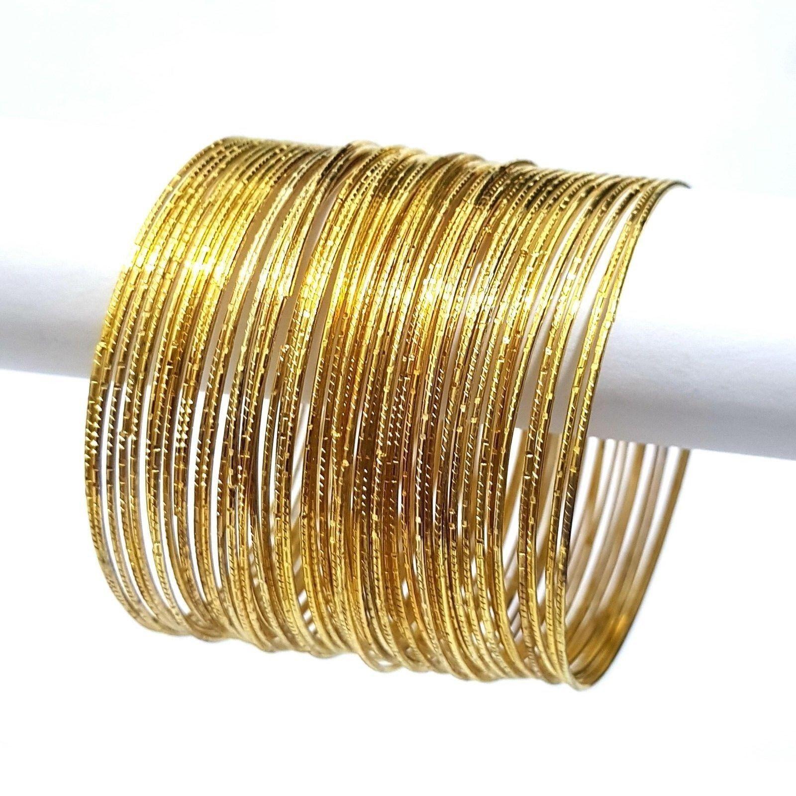 Indische Armreifen Set Ø6,5cm Bracelet Armband Bollywood Choorian Bangles GOLD