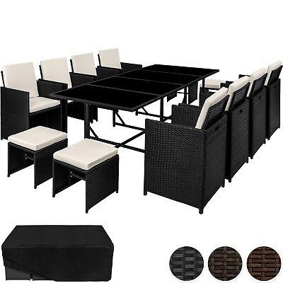 Sitzmöbel Lounge-stuhl (Rattan Sitzgarnitur Gartenmöbel Garnitur Lounge mit 8x Stuhl Tisch Hocker Poly)