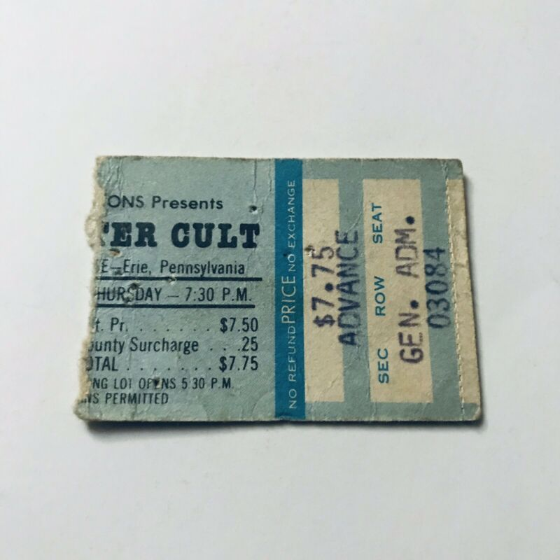 Blue Oyster Cult Erie County Fieldhouse Concert Ticket Stub Vtg September 1979