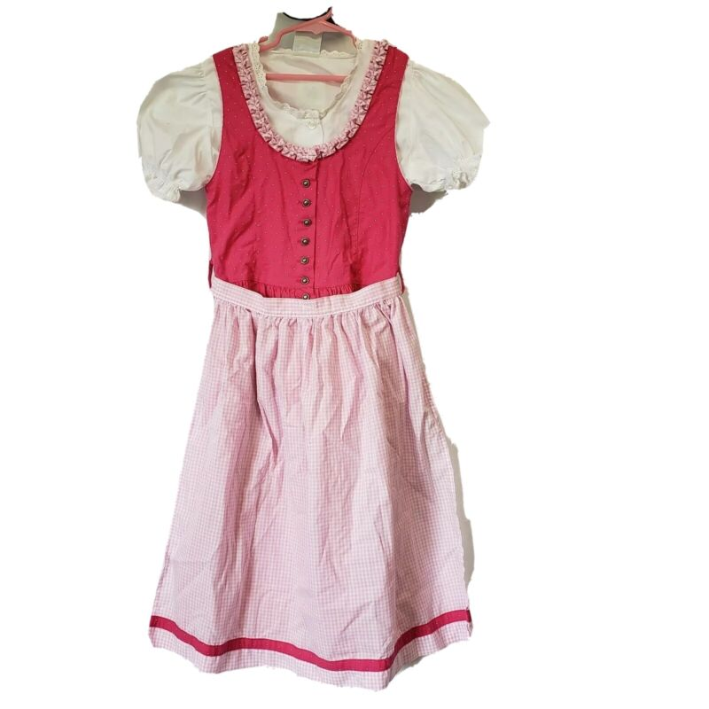 Girls Usar Trachten Dirndl Dress Apron 3 Pc sz 10 140 German Oktoberfest Pink