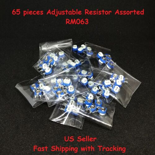 65 Pcs RM063 Vertical Adjustable Resistor 13 Values 5 Each 100R~1M - US Seller