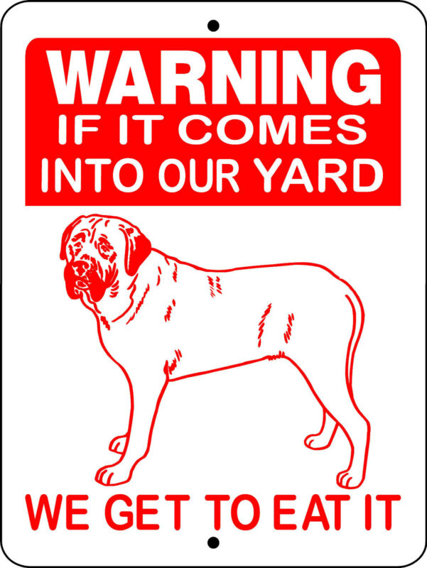 "MASTIFF ALUMINUM SIGN GUARD DOG WARNING 9"" X 12"" V2652"
