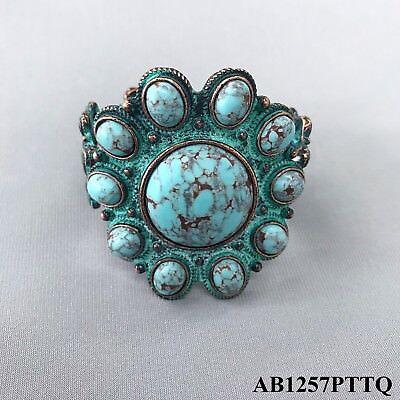 (Boho Patina Finish Turquoise Stone Flower Design Statement Stretchable Bracelet )