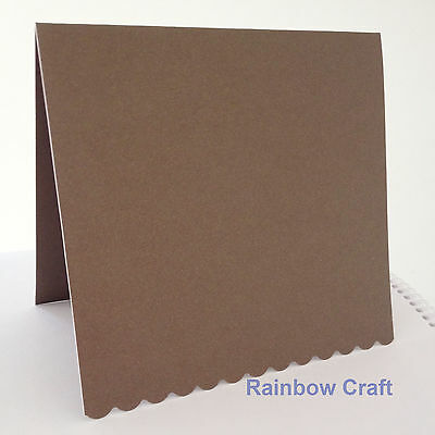 10 blank Cards & Envelopes SQUARE or C6 (9 Colors) - Scallop Wedding Invitation - Sq Brown