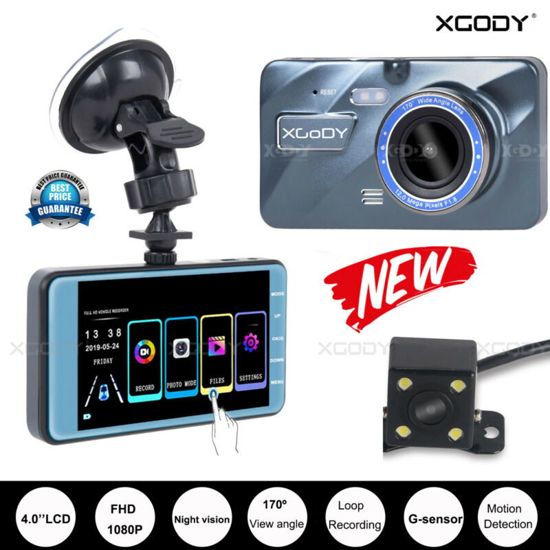 "XGODY 4"" 1080P Touch Dual Lens Car DVR Rearview Camera Dash Cam Video Recorder"