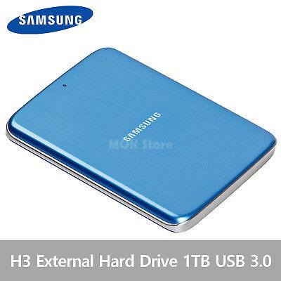 Samsung H3 Portable External Hard Disk Drive HDD USB 3.0 1TB - Blue Coral