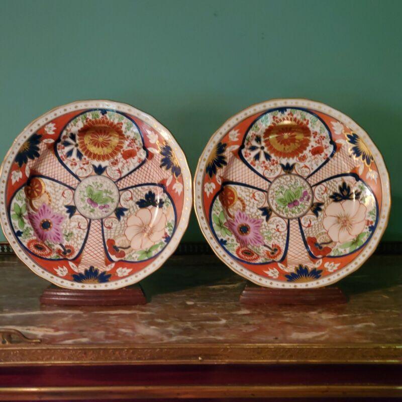 C. 1800 Rare Pair Of Pinxton Porcelain Imari Plates