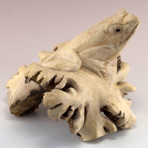 "Unique Frog Hand Carved Parasite Wood Carving Figurine Sculpture 5.5"" Long"