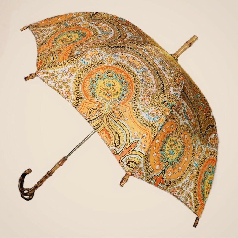 Antique vintage silk orange paisley parasol!